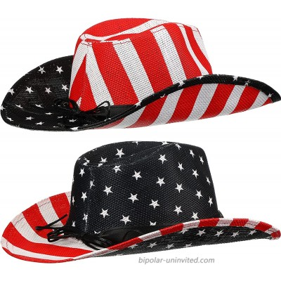 2 Pieces American Flag Cowboy Hats Independence Day Sun Hat Western Cowboy Hat Summer Straw Hat for Men Women at  Men's Clothing store
