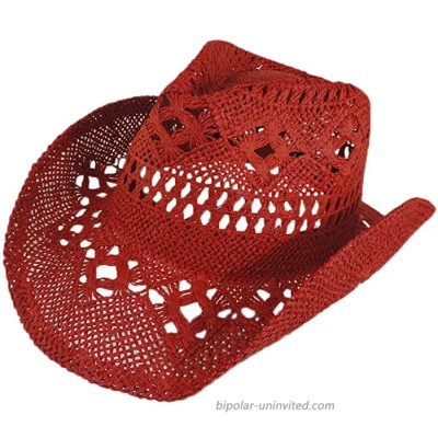 Crocheted Red Western Toyo Cowgirl Hat