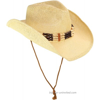 Cute Comfy Flex Fit Woven Beach Cowboy Hat Western Cowgirl Hat with Wood Bead Hatband Adjustable Chin Strap Natural at  Women's Clothing store