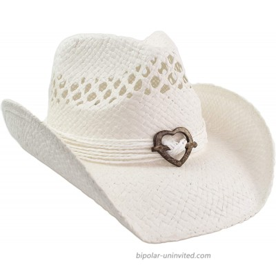 Cute Comfy Flex Fit Woven Beach Cowboy Hat Western Cowgirl Hat with Wood Heart on Hatband White at  Women's Clothing store