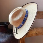 Hat Band Hatbands for Men and Women Leather Straps Cowboy Hats Accessories White Blue Paisley Handmade in Guatemala 7 8 Inches x 21 Inches at Men's Clothing store