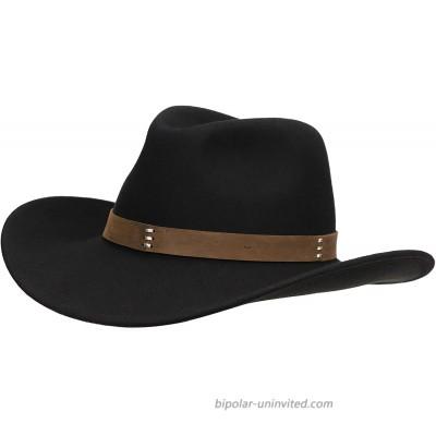 Jack&Arrow Cowboy Hat Men Black Wool Felt Western Outback Gambler Wide Brim Adjustable Sizes Crushable at  Men's Clothing store