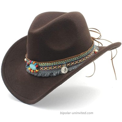 Jdon-hats Womens Fashion Western Cowboy Hat for Lady Tassel Felt Cowgirl Sombrero Caps Hats at  Women's Clothing store