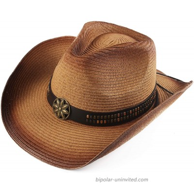 Melesh Adult Sun Straw Western Cowboy Hat Colored Light Coffee at  Men's Clothing store