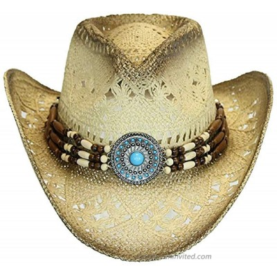 Men's & Women's Western Style Cowboy Cowgirl Toyo Straw Hat Tea Stain-Turquoise Beads at  Women's Clothing store