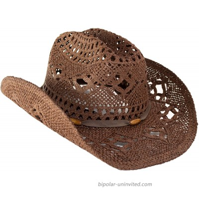 Rising Phoenix Industries Shapeable Straw Beach Cowboy Hat for Women Country Western Cowgirl Hat with Cute Hatband Brown with Wood Bead Hatband at  Women's Clothing store