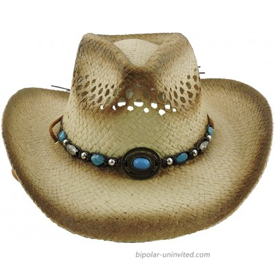 Silver Fever Ombre Woven Straw Cowboy Hat with Cut-Outs Beads Chin Strap Brown w TQ Pendant at  Women's Clothing store