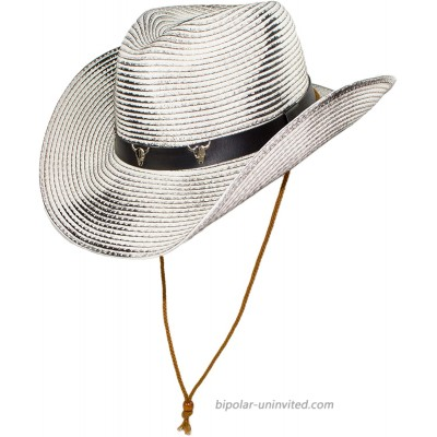 Western Rustic Rodeo Shapeable Straw Cowboy Hat with Chin Strap Black Hatband with Longhorn Skeletons White Large at  Men's Clothing store