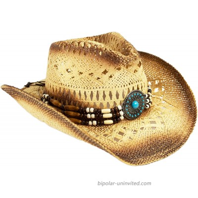 Western Straw Toyo Cowboy Hat with Shapeable Brim Natural Tea Stain Cowgirl Hat with Turquoise Hatband at  Women's Clothing store