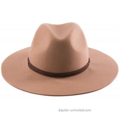 Accessorama Womens Fedora Hats 100% Wool Wide Brim Panama Hat Fashion Hats for Fall Winter at  Women's Clothing store