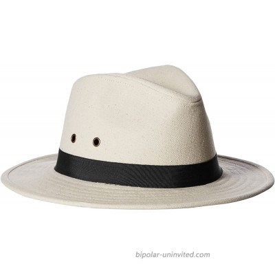 'ale by alessandra Women's Skyler Adjustable Canvas Fedora Hat with UPF 50+ Natural Black Adjustable Head Size at  Women's Clothing store