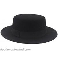 ASTRQLE Fashion Black Wool Blend Flat Brim Elegant Fedora Hat Panama Style Bowler Cap Jazz Hat with Belt for Winer Autumn at  Women's Clothing store