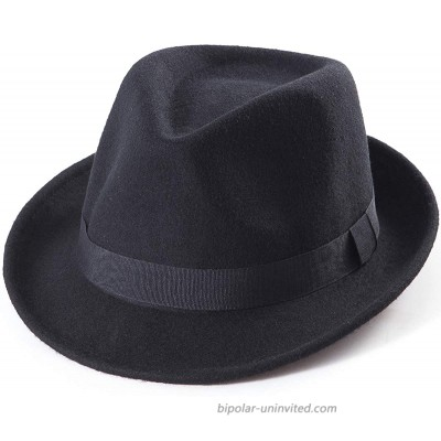 Black Fedora Hat for Men - Classic Wool Hat for Winter Hats Women Fedoras Men Black One Size 7 1 4 22-7 8 fit for 22 - 22 7 8 at  Men's Clothing store