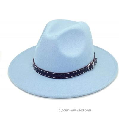 E-G-M Retro Fedora for Women Wide Brim Panama Hat Belt Buckle Baby Blue at  Women's Clothing store