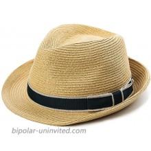 Fancet Packable Straw Fedora Panama Sun Summer Beach Hat Cuban Trilby Men Women 55-64cm at  Men's Clothing store