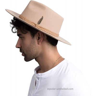 Fedora for Men Women 100% Wool Felt Outback Panama Hat Classic Band Wide Brim Adjustable at  Women's Clothing store