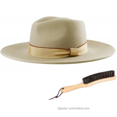 Fedora Hats for Men & Women with Soft Hat Brush 100% Wool Wide Brim Felt Hat Fashion Western Sun Hat … Camel at  Women's Clothing store