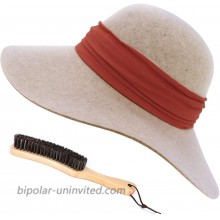 FEMSÉE Fedora Hats for Women with Soft Hat Brush 100% Wool Wide Brim Felt Hat Floppy Sun Hats for Fall Winter Beige at  Women's Clothing store