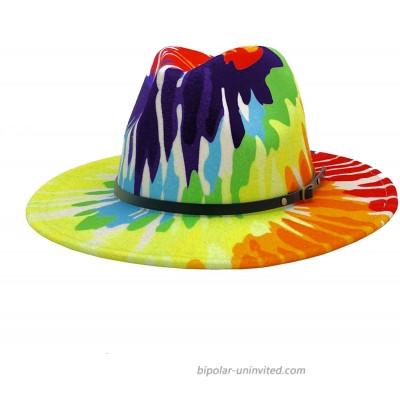Gossifan Women Classic Wide Brim Panama Hat Tie Dye Ladies Floppy Fedoras Hat A-Rainbow at  Women's Clothing store