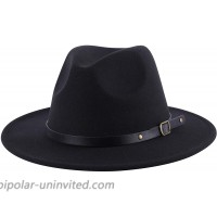 Lanzom Women Retro Wide Brim Wool Fedora Hat with Belt Buckle HatBlack One Size at  Women's Clothing store