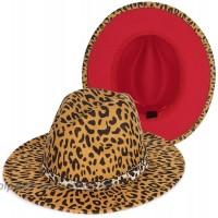 Leopard Fedora Hat Red Bottom Two Tone Wide Brim Felt Belt Buckle Panama Hat Jazz Dress Hat Trendy Womens & Mens at  Women's Clothing store
