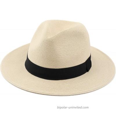 Melesh Straw Fedora Hat for Women Men Fine Braid Wide Brim Sun Beach Panama Hat Medium Beige at  Women's Clothing store