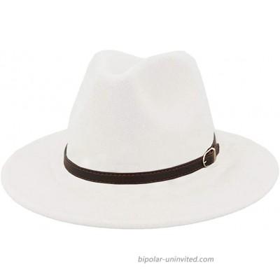 Men & Women Panama Hat Classic Wide Brim Fedora Hat with Belt Buckle-White