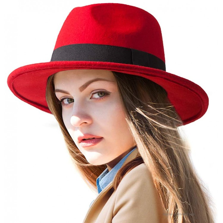Red Fedora Hats for Women - Wool Hats for Men Wide Brim Hat Women Felt Fedoras at Women's Clothing store