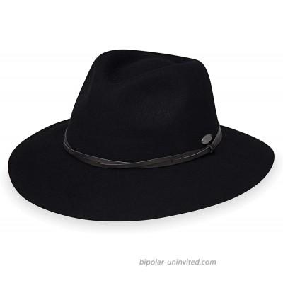 Wallaroo Hat Company Women's Aspen Fedora – Stylish Sun Protection UPF 50+ 100% Wool Felt Adjustable Packable Black at  Women's Clothing store
