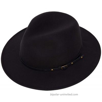 Women Fedora Hats Wide Brim Felt Sun Hat with BeltBlack at  Women's Clothing store