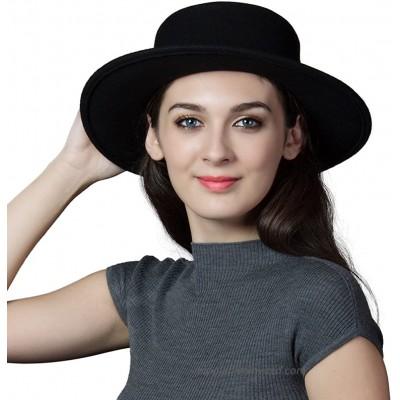 Womens 100% Wool Felt Hat Winter Panama Fedora Pork Pie Hats Bow Black at  Women's Clothing store