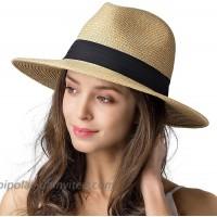 Womens Mens Wide Brim Straw Panama Hat Fedora Summer Beach Sun Hat UPF Straw Hat for Women at  Women's Clothing store