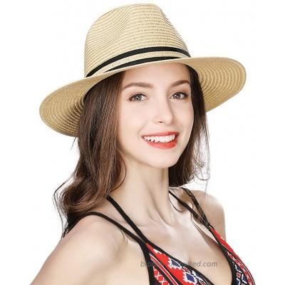 Womens Straw Fedora Brim Panama Beach Havana Summer Sun Hat for Men Party Floppy at  Women's Clothing store
