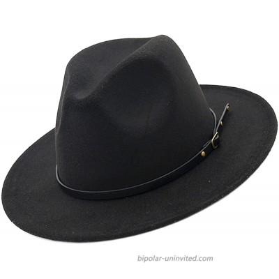 Womens Vintage Jazz Hat Fedora Hat Wide Brim Felt Hat with Belt Buckle Black with Black Belt Medium 22-23 at  Women's Clothing store