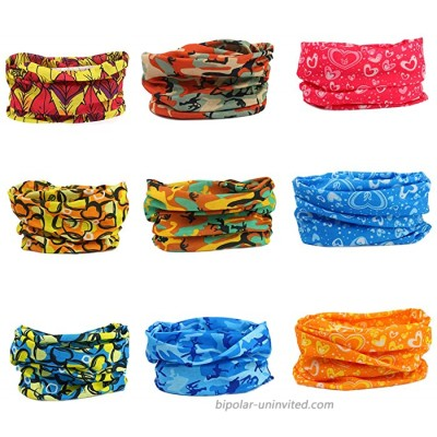 9 Pack Headbands Bandana Head Wrap Athletic Multifunctional Fashion Bands Sweat Wicking Hair Bands for Men Women Yoga Running Sports UV Shield Face Cover