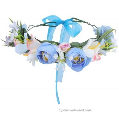 Adjustable Handmade Flower Crown Headband -HAIMEIKANG Flower Headband for Women Girl Festival Wedding Party Flower Wreath Blue