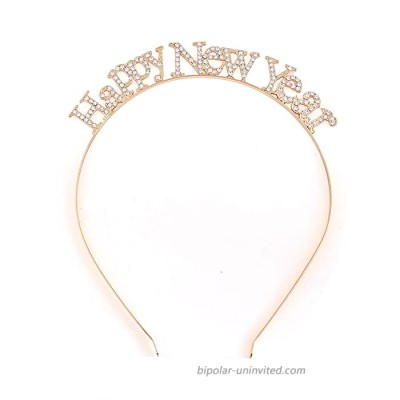 Christmas Headbands For Women Sparkly Crystal Reindeer Happy Holiday Party Headband HeadpieceE-gold
