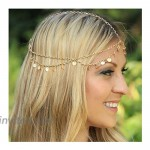 deladola Boho Layered Head Chain Gold Sequins Headpiece Vintage Beach Fashion Party Festival Multilayer Hair Accessories Jewelry for Women and Girls