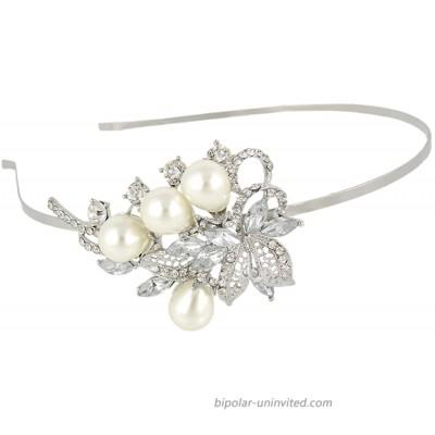 EVER FAITH Austrian Crystal Simulated Pearl Wedding Floral Leaf Vine Head Band Clear Silver-Tone