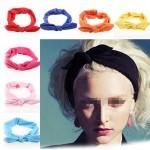 Ewanda store Women's Elastic Rabbit Ear Headband Turban Headwrap Knotted Soft Twisted Headband Cross Knot Hair BandsHot Pink
