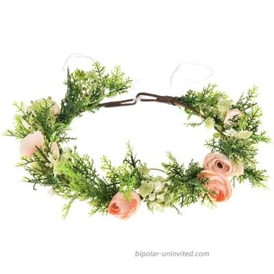Floral Fall Camellia Flower Halo Wedding Greenery Crown Bridal Headpiece FL-22 Champagne