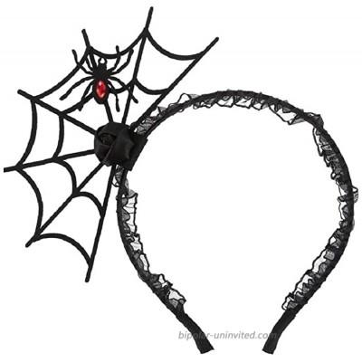 JIALWEN Halloween Spider Headband Spiderweb Hair Hoop Halloween Party Cosplay Masquerade Costume Accessory