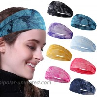 KWHY Headbands for Women 4-8 Pack Yoga Running Sports Cotton Headbands Boho lastic Headwraps Workout Fashion Hair Bands for Girls