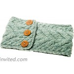 Ladies Multi Cable Headband with Buttons - 100% Merino Wool Green