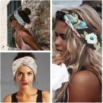 LOLIAS 8 Pack Headbands for Women Elastic Boho Flower Yoga Head Wrap Hair Band Soft