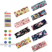 LOLIAS 9 Pcs Boho Headbands with Button for Nurses Women Men DIY Sewing Button Headwrap Elastic Hair Band for Yoga Sports Running Washing Face Protect Your Ears
