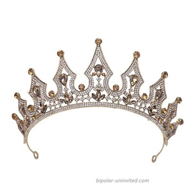 Lurrose Baroque Queen Crown Elegant Vintage Rhinestone Bridal Princess Tiaras Hair Jewelry for Pageant Party Wedding Prom Golden