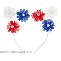Lux Accessories White July 4th Red Blue Plain Flowers Cat Ears Fashion Headband