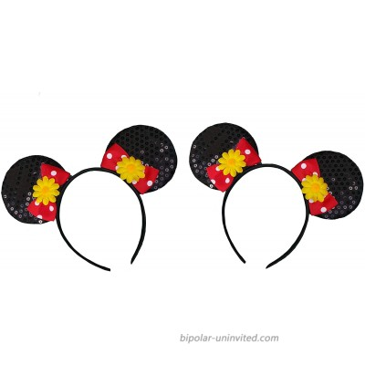 Novelty Pair Mickey Minnie Mouse Style Ears Headband for Boys Girls Parties Festivals Comes Double Flower [2 Black] at  Women's Clothing store