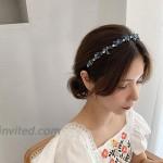 RANRAN Women Rhinestone Hair Hoop Crystal Headband Elegant Bride Hairband Banquet HeaddressBlue